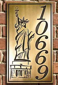 Statue of Liberty Brass Patina Address Plaque