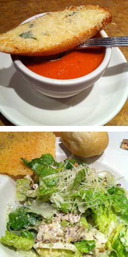 Roma Tomato Basil Soup and Grilled Chicken Caesar Salad