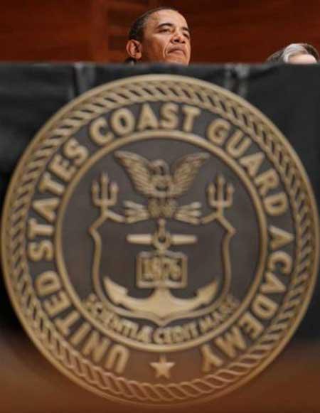 President Behind Custom Coast Guard Plaque