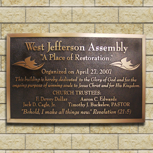 Dedication Plaques Wording for Church