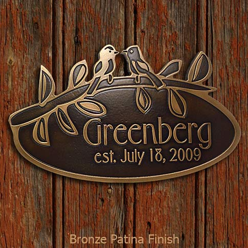 Love Birds Wedding Gift Plaque in Bronze Finish