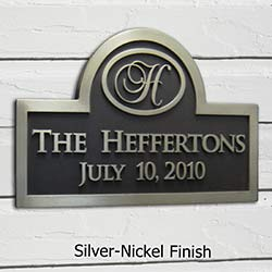 Monogram Wedding Plaque in Nickel Silver Finish