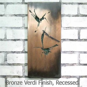 Wall Clock in Bronze Verdigris Finish depicting Great Blue Herons in Flight