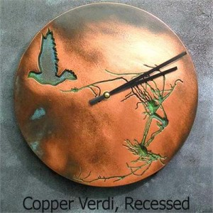 Edgar Allan Poe inspired Wall Clock with Ravens and Copper Verdigris Finish