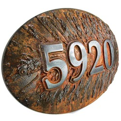 Iron Rust Finished 3D Pine Cone Address Numbers
