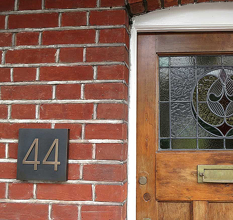 Address Number Plaque easily surface installed on brick