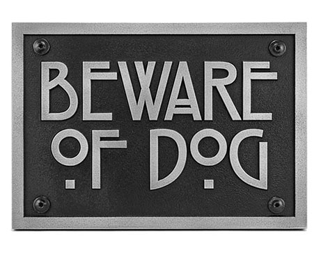 Beware of Dog Sign in Arts and Crafts Style