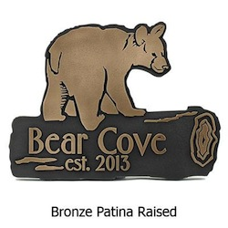 Bear Cub Shaped Plaque for Mountain Cabin Home
