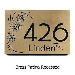 Pinecone Motif Mountain Address Plaque