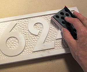 Sanding your DIY Address Plaque