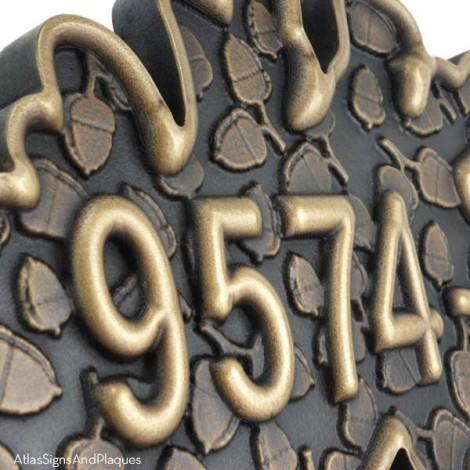 3 Dimensional Oak and Acorn motif Address Plaque