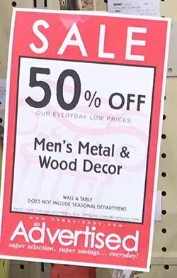 For men fishermen at Hobby Lobby